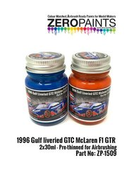 Zero Paints: Paints set - 1996 Gulf liveried GTC McLaren F1 GTR Paint Set - for Renaissance Models reference 026D