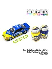 Zero Paints: Set de pinturas - Azul y Amarillo para Opel Manta Phillips - 2 x 30ml - para la referencia de Decalcas DCL-DEC017