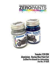 Zero Paints: Paints set - Yamaha YZR-R1M Aluminium and Racing Blue - for Tamiya reference TAM14133