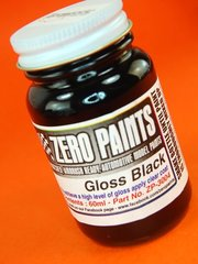 Zero Paints: Pintura - Negro brillante - Gloss Black - 1 x 60ml - para Aerógrafo