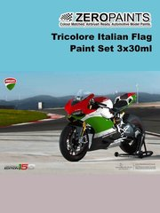Zero Paints: Set de pinturas - Tricolore Italian Flag - 3x30ml - para kits de Tamiya TAM14129 y TAM14132