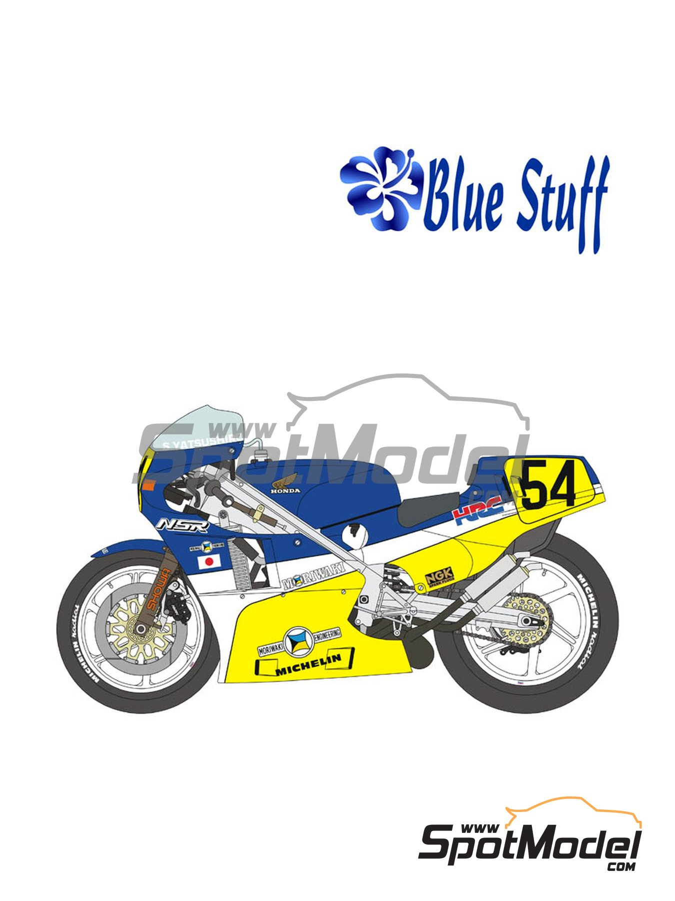 Honda NSR500 HRC-Moriwaki - Motorcycle World Championship 1986 | Marking / livery in 1/12 scale manufactured by Blue Stuff (ref. 12-012) image
