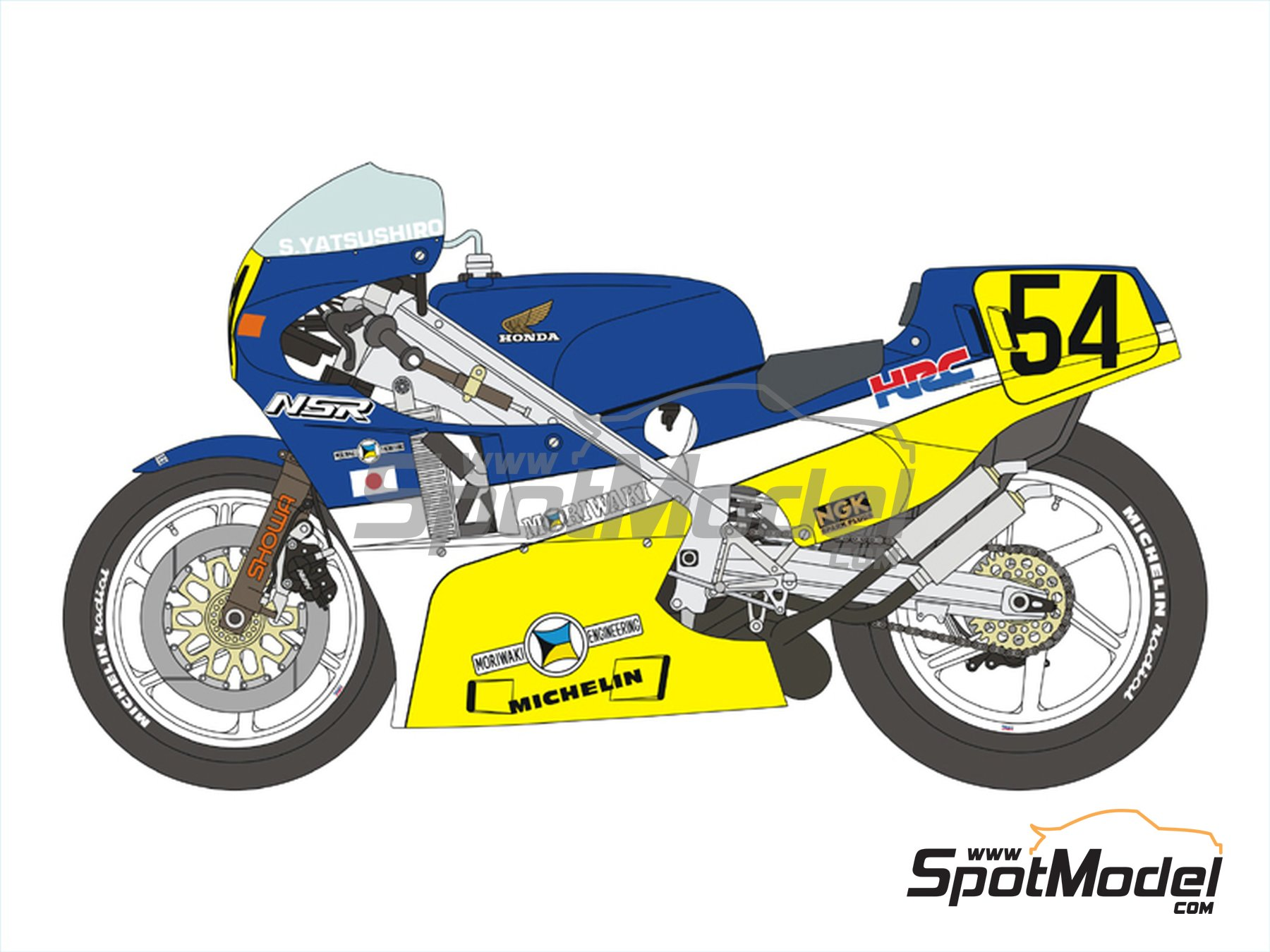 Image 3: Honda NSR500 HRC-Moriwaki - Motorcycle World Championship 1986 | Marking / livery in 1/12 scale manufactured by Blue Stuff (ref. 12-012)