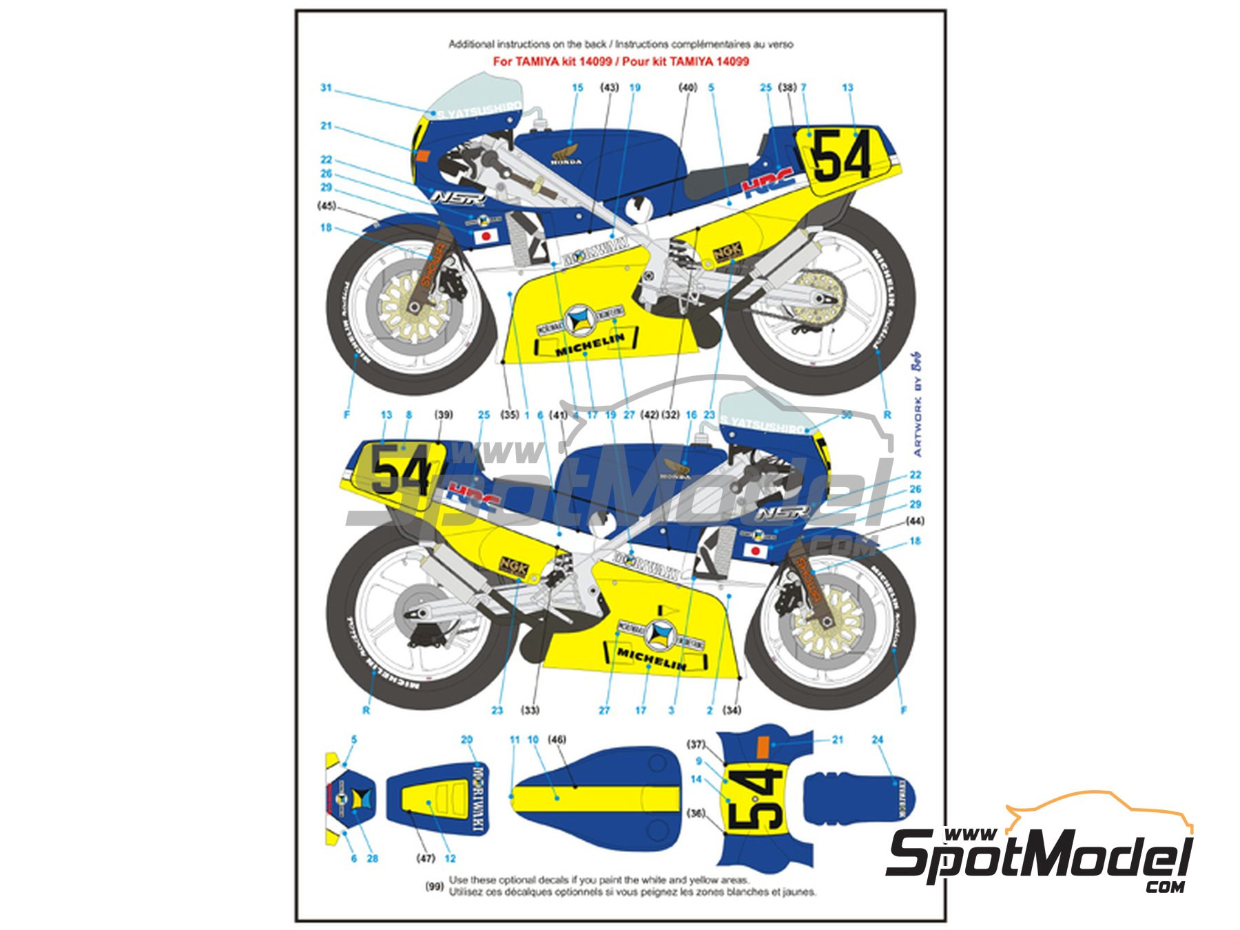 Image 5: Honda NSR500 HRC-Moriwaki - Motorcycle World Championship 1986 | Marking / livery in 1/12 scale manufactured by Blue Stuff (ref. 12-012)