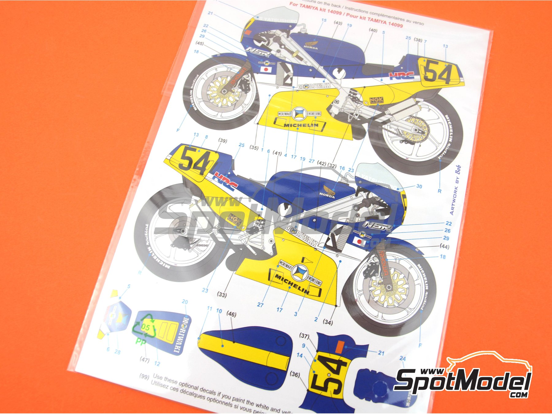 Image 10: Honda NSR500 HRC-Moriwaki - Motorcycle World Championship 1986 | Marking / livery in 1/12 scale manufactured by Blue Stuff (ref. 12-012)