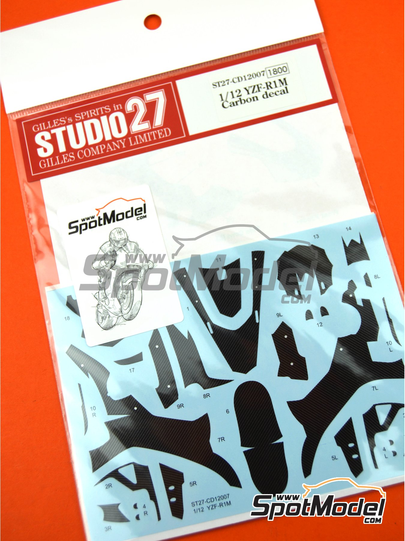 Yamaha YZF-R1M | Carbon fibre pattern decal in 1/12 scale manufactured by Studio27 (ref. ST27-CD12007, also 4545310018087, CD12007 and s27cd12007) image