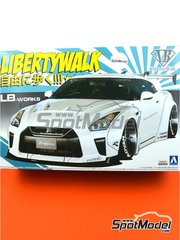 Aoshima: Model car kit 1/24 scale - Liberty Walk LB Works Nissan R35 GT-R Type 1.5 - paint masks, plastic parts, rubber parts, water slide decals, assembly instructions and painting instructions image