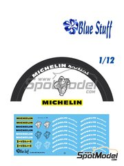 Blue Stuff: Logotypes 1/12 scale - Michelin radial 80s - water slide decals, assembly instructions and painting instructions