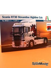 Italeri: Model truck kit 1/24 scale - Scania R730 Streamline Highline Cab - plastic parts, rubber parts, water slide decals, assembly instructions and painting instructions image