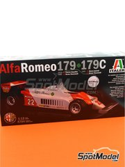 Italeri: Model car kit 1/12 scale - Alfa Romeo 179 and 179C Marlboro #22, 23 - Bruno Giacomelli (IT), Patrick Depailler (FR), Mario Andretti (US) - FIA Formula 1 World Championship 1979, 1980 and 1981 - metal parts, plastic parts, rubber parts, seatbelt fabric, water slide decals, other materials, assembly instructions and painting instructions image