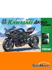 Meng Model: Model bike kit 1/9 scale - Kawasaki Ninja H2R - metal parts, photo-etched parts, plastic parts, rubber parts, water slide decals, assembly instructions and painting instructions