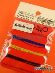 Model Factory Hiro: Detail 1/20 scale - Piping cord 0.4 mm - Red, blue, yellow and black - 1 meter long - 4 units