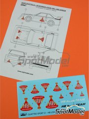 Reji Model: Logotipos escala 1/24 - Audi Quattro Sport S1 Grupo B HB International Audi Team 1985 y 1986 - calcas de agua y manual de instrucciones - para las referencias de Beemax Model Kits B24017 y 103982