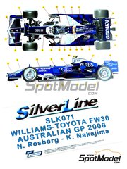 Tameo Kits: Model car kit 1/43 scale - Williams Toyota FW30 #7, 8 - Nico Rosberg (DE), Kazuki Nakajima (JP) - Australian Formula 1 Grand Prix 2008 - photo-etched parts, turned metal parts, water slide decals, white metal parts and assembly instructions