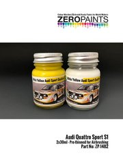 Zero Paints: Set de pinturas - Amarillo y blanco Audi Quattro Sport S1 - 2 x 30ml - para las referencias de Beemax Model Kits B24017 y 103982